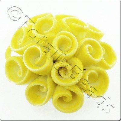 Ceramic Pendant - Swirl Flower - Yellow