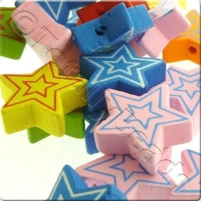 Childrens Wooden Bead - Striped Stars
