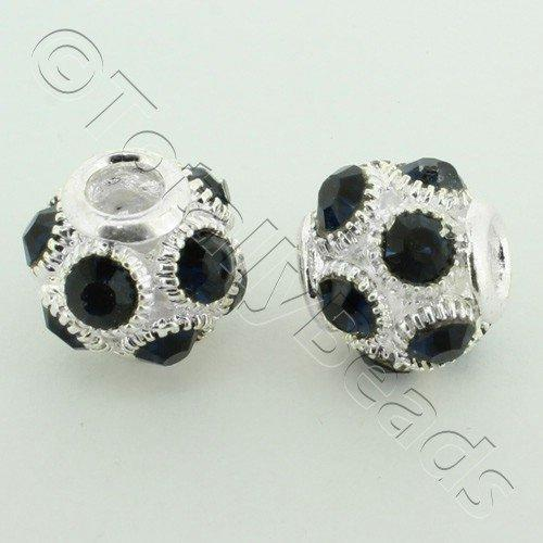 Large Hole Round Rhinestone Spacer Bead 14mm - Midnight Blue