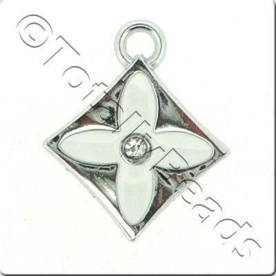 Enamel Charm - Diamond - White