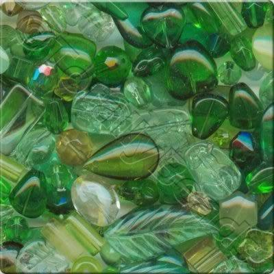 Mixed Glass Crystal Beads - Green - 100g