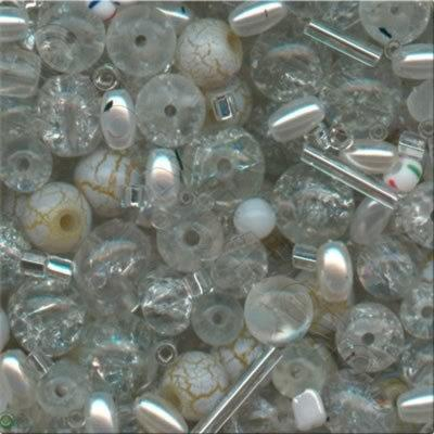Mixed Glass Beads - White & Clear - Tube