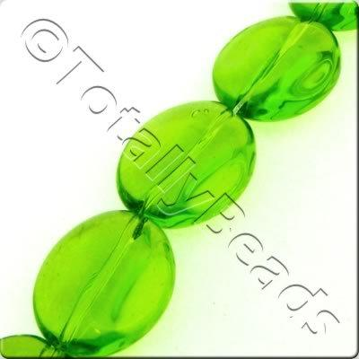 Glass Ridged Flat Oval - 18x16mm - Green - 16pcs