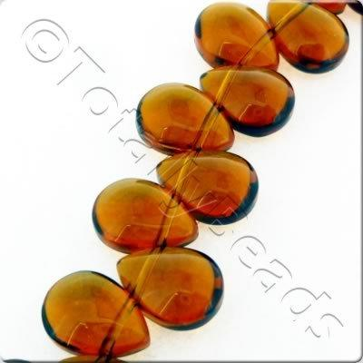 Glass Top Drilled Drop - 8x11mm - Dark Brown - 43pcs