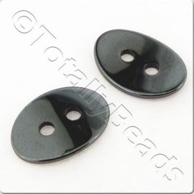 Hematite - Curved Oval Button 14x10mm