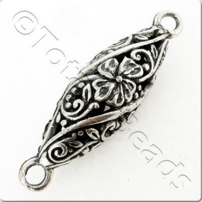 Tibetan Silver Hollow Oval Connector - Flower