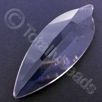 Glass Pendant Leaf Rounded Lilac - 80mm