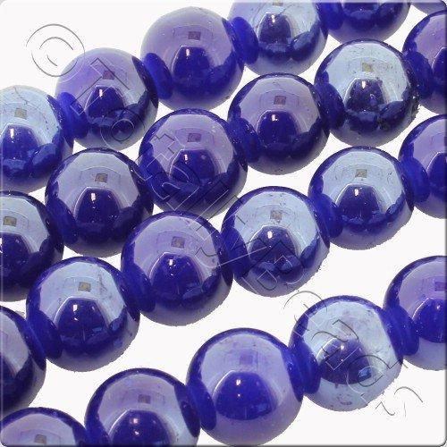 Luster Glass Bead 10mm Round - Dark Blue