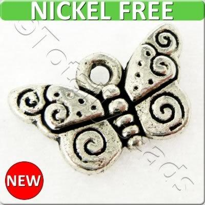 Antique Silver Metal Charm - Butterfly 9x15mm 15pcs - A12966