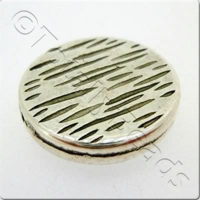 Acrylic Antique Silver Bead - Flat Circle Pattern 25mm