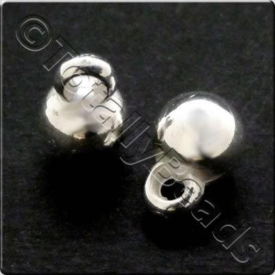 Metalised Acrylic Hanger Bead 6mm - Silver 100pcs