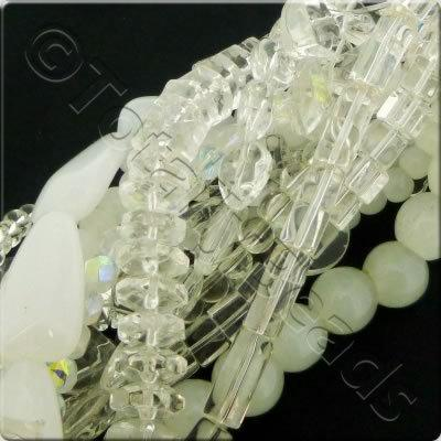 12 Strings Glass Bead Mix - White & Clear