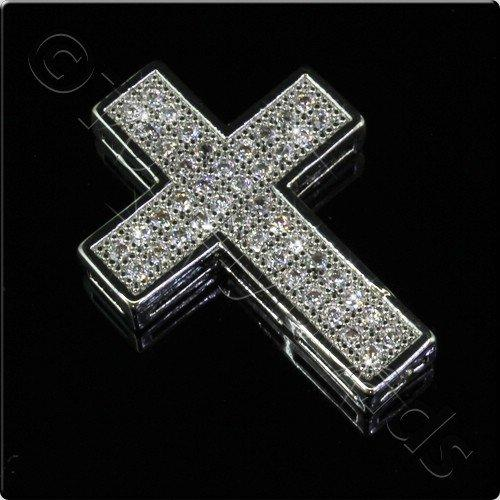 Pave Crystal Pendant - Silver Cross 23mm