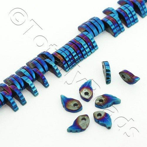 Hematite Leaf 6x1mm 180pc Blue Plated