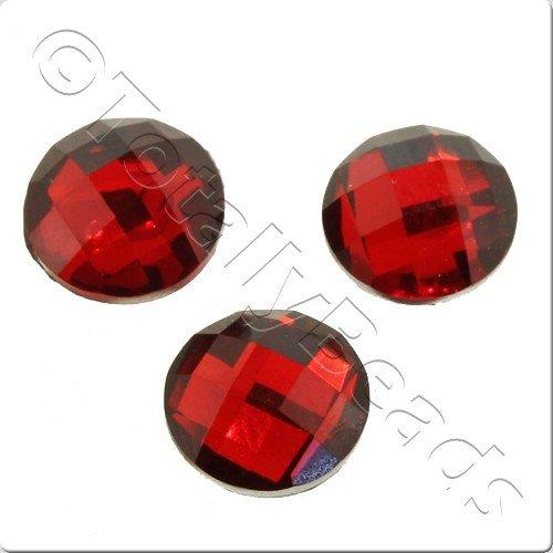 Resin Cabochon 10mm - Facet Red 10pcs