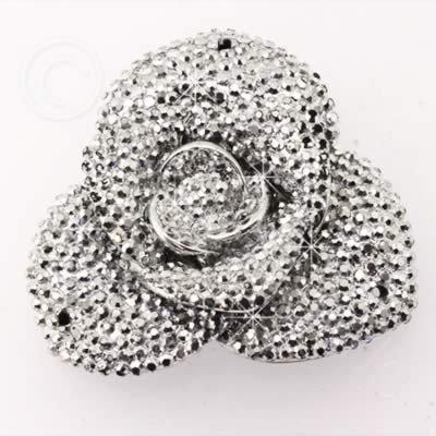 Resin Sparkle 3 Point Flower 40mm - Silver