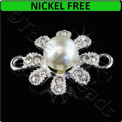 Silver Metal Connector 8 Point Crystal & Pearls 20x27mm 2pcs