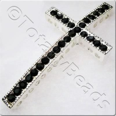 Rhinestone Cross - Silver & Black