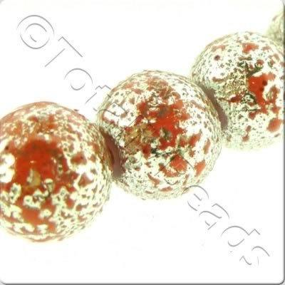 Rough Silver Splatter Bead Round - Light Red