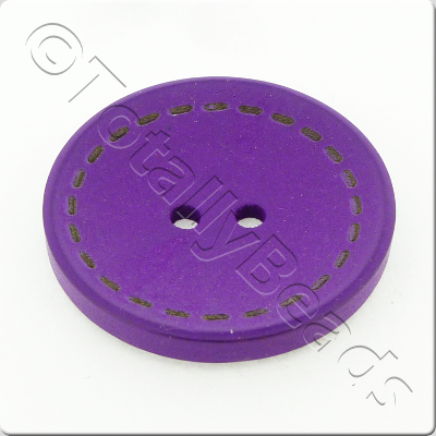 Wooden Button Stitch Effect 30mm - Purple