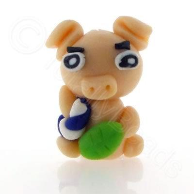 Fimo Doll Bead - Nude Pig