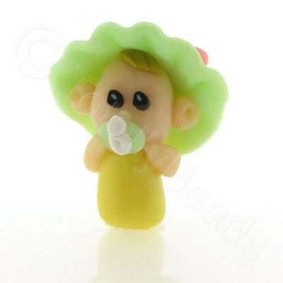 Fimo Doll Bead - Baby Green Bonnet