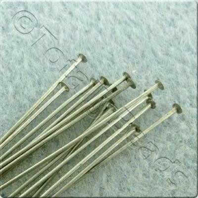 Head Pins 50mm - Dull Silver Plated