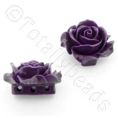 Acrylic Rose 35mm 3 Rows - Purple