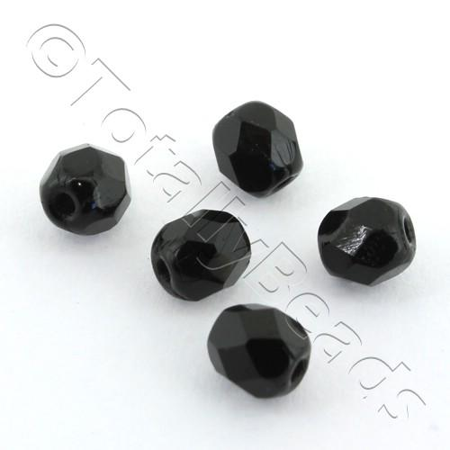 Czech Fire Polished 4mm Faceted - Jet Black - 100pcs