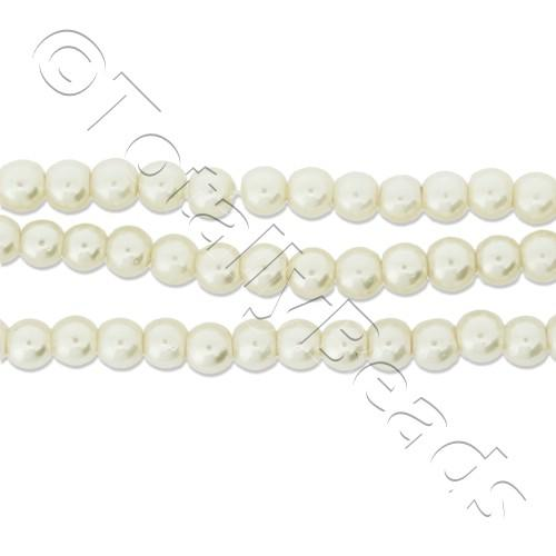 Glass Pearl Round Beads 3mm - White
