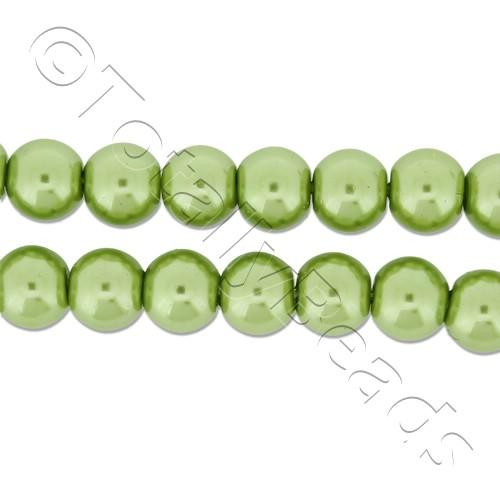 Glass Pearl Round Beads 6mm - Light Olive
