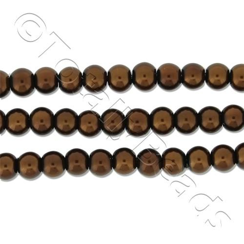 Glass Pearl Round Beads 4mm - Bronze