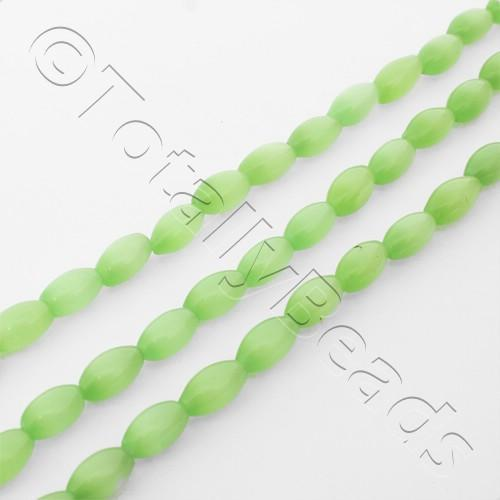 Cats Eye Rice Bead - 8mm - Light Green