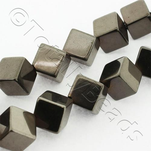 Hematite Diagonal Cube 8mm - Coffee Plated