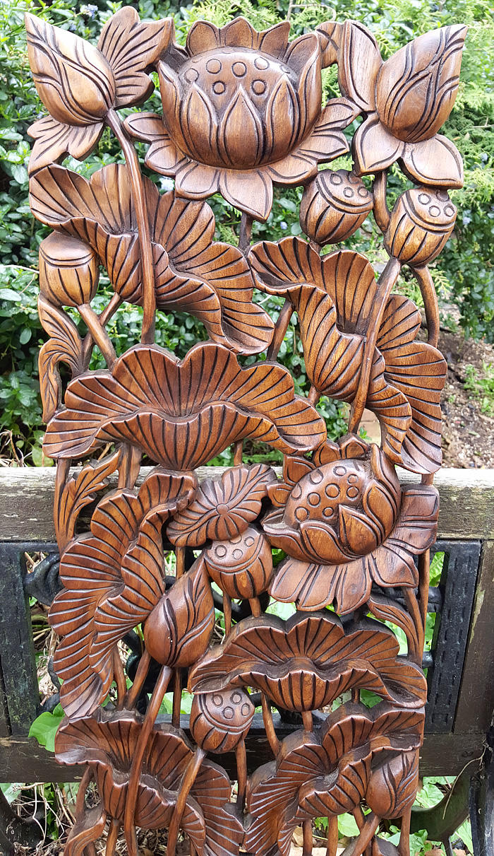 Master Carved Solid Teak Wood 3ft Flowers Wall Panel Hand