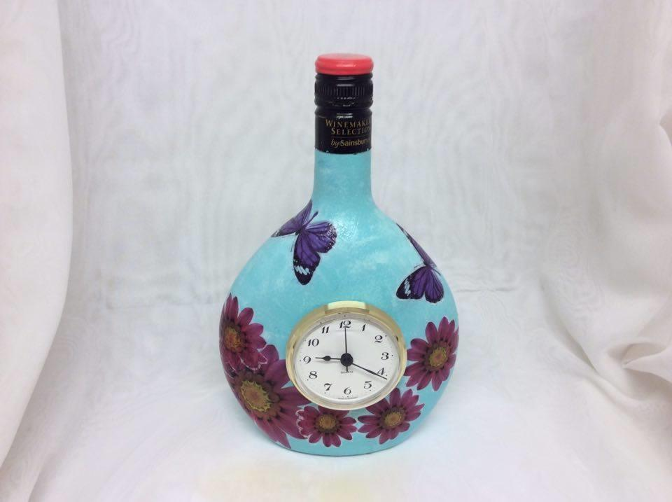 Decorated Wine Bottle Clock Flowers & Butterflies