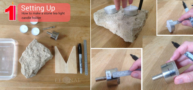 Step 1. setting up your tools to make a stone tealight candle holder
