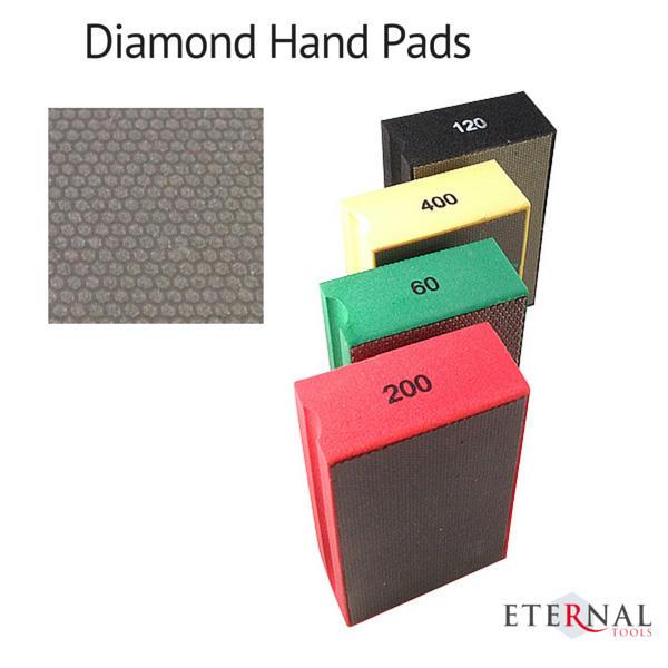 Diamond hand pads for glass, ceramic and carbide