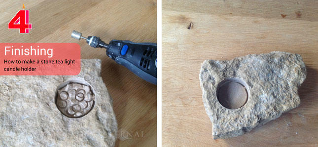 Make a stone tealight candle holder. Grind the stone smooth with a diamond burr
