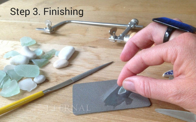 Remove rough edges from your sea glass and stone