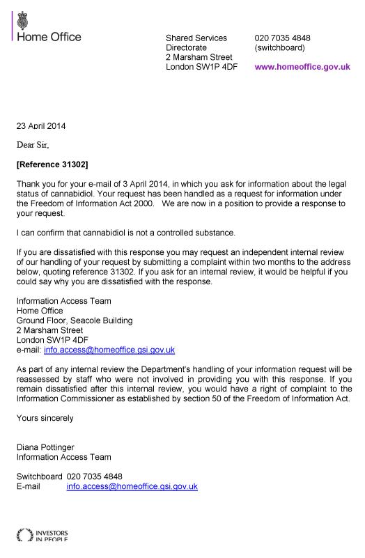 Home Office Letter regarding CBD Legality